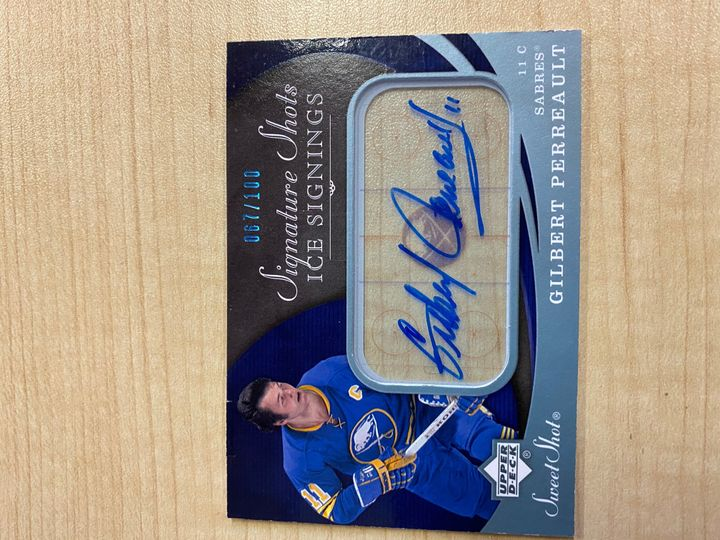 EXTREMELY RARE!! 2007/08 Upper Deck Signature Shots Ice Signings Sweet Shots, card number SSR-GP, Gilbert Perrault