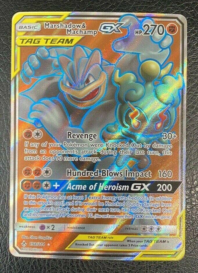 Full Art Ultra Rare NM Su 198//214 Pokemon 1x Marshadow /& Machamp Tag Team GX