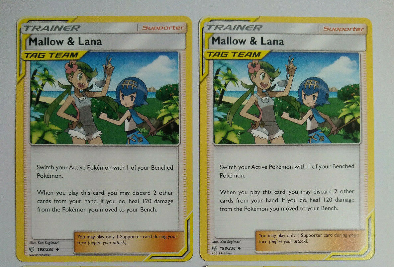 4x Mallow /& Lana 198//236 Cosmic Eclipse Pokemon Playset x4 Uncommon NM