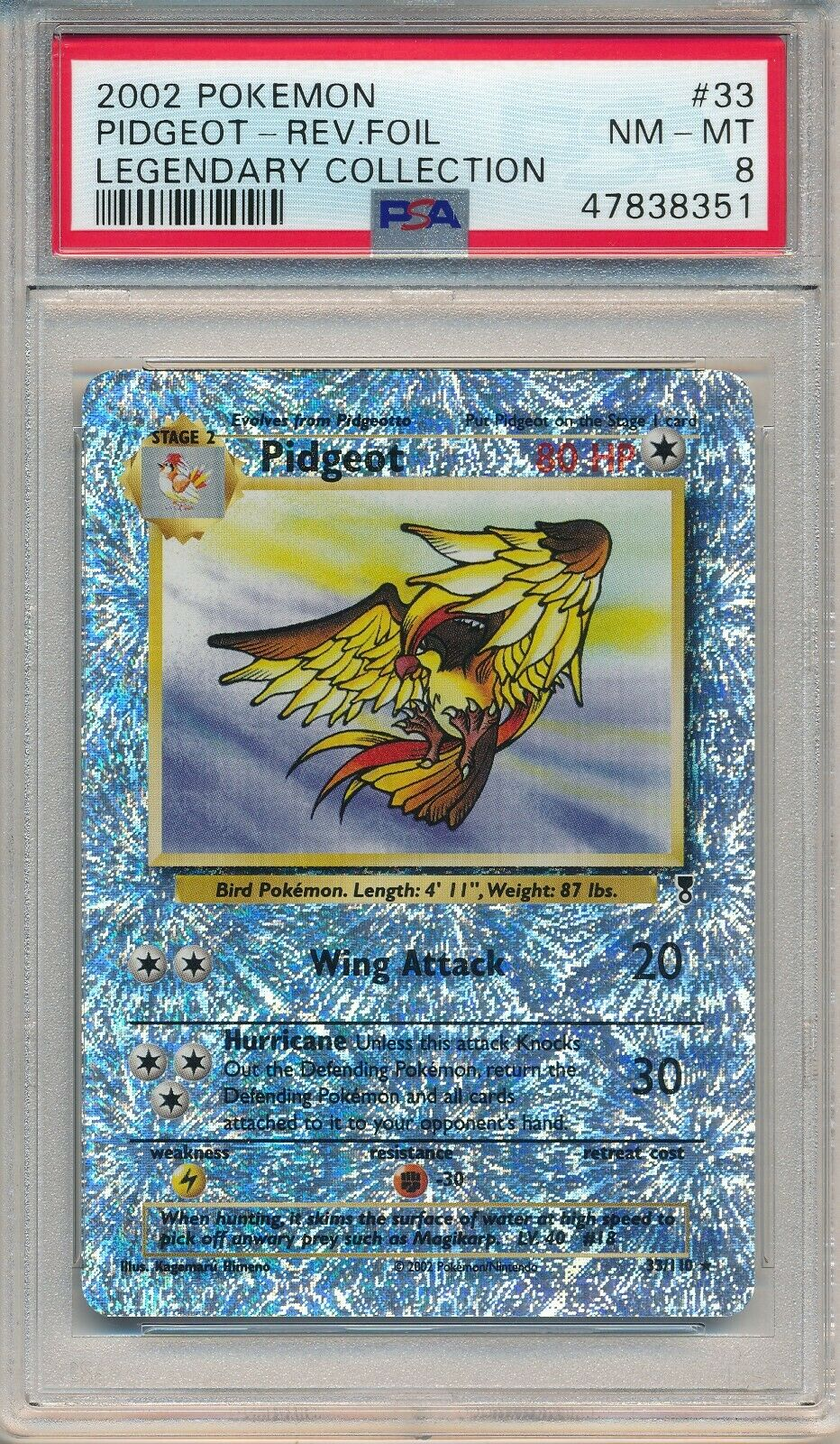 1X PIDGEOT 33//110 POKEMON REVERSE HOLO RARE CARD LEGENDARY COLLECTION NM
