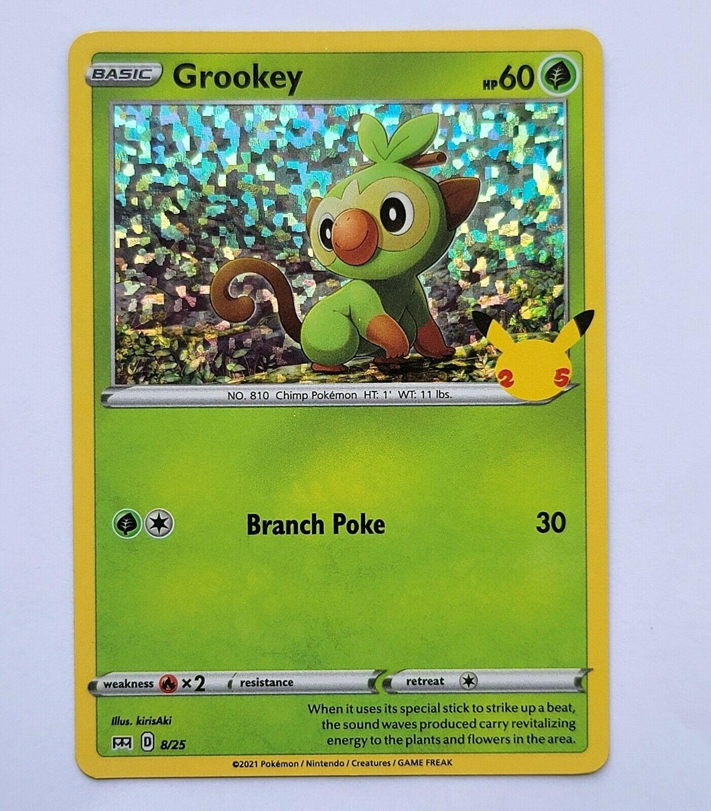 Pokemon McDonald's 25th Anniversary Grookey 8/25 Holo Card 2021 NM Mint