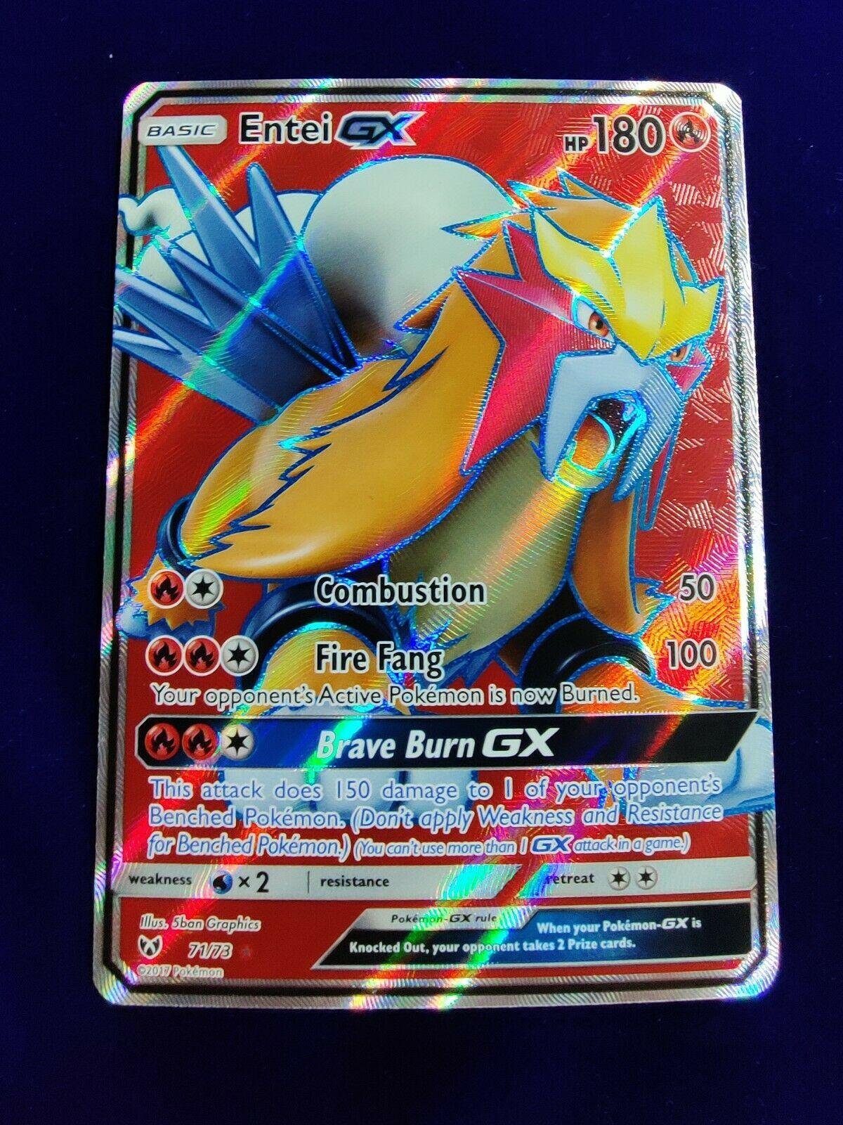 Entei GX 71//73 NM//M MINT Shining Legends Full Art Ultra Rare Holo Pokemon Card