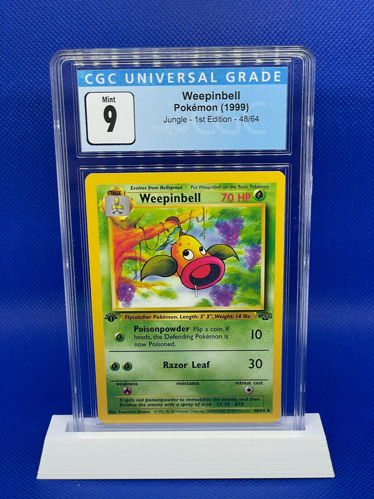 Jungle NM//LP 1st Edition Weepinbell Pokemon Card No 48//64