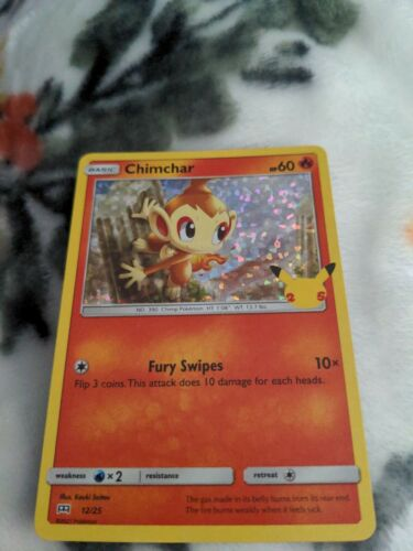 Chimchar 12/25 Holo Pokemon Card McDonald's 25th Anniversary Stamped Promo 2021