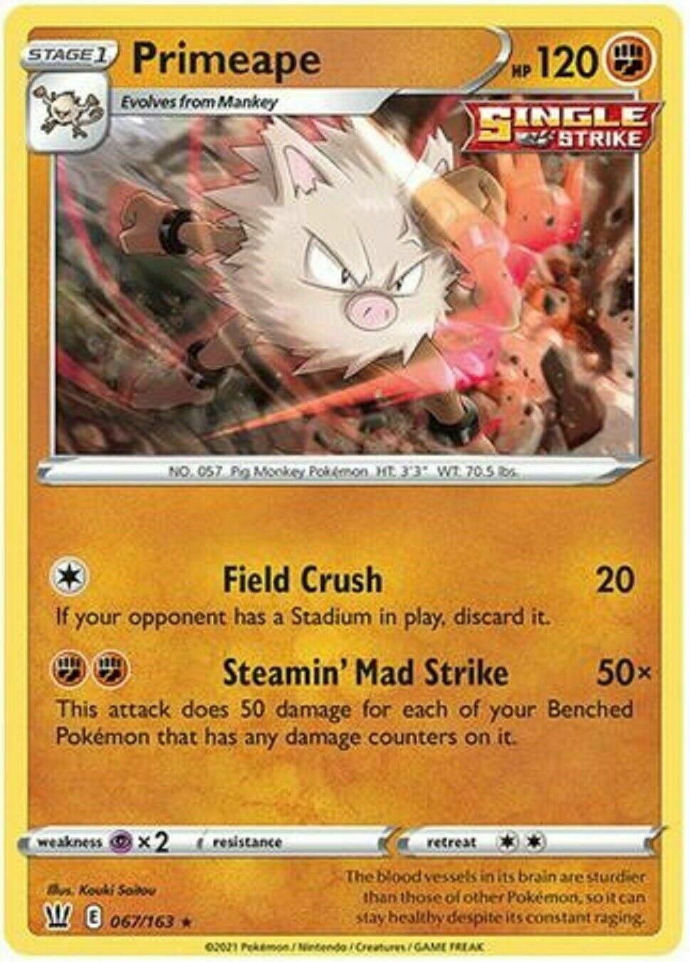 Pokemon - Primeape - 067/163 - Non Holo Rare - Battle Styles - NM/M