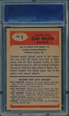 1955 Bowman Football Doak Walker #1 PSA 6 LIONS EX-MT HOF PSA SET BREAK - Image 2