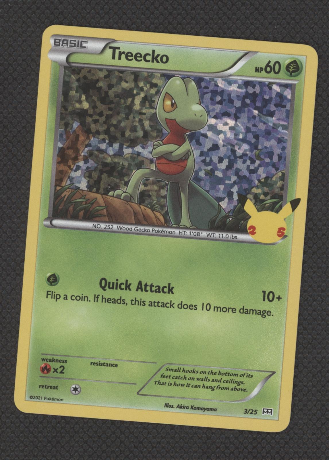 Pokemon McDonald's 25th Anniversary Treecko 3/25 HOLO Card 2021