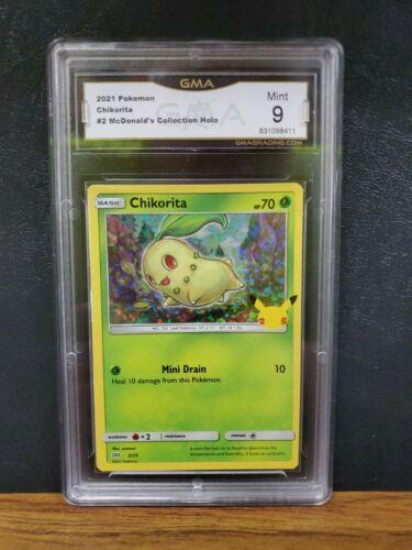 Pokemon Chikorita 2/25 Holo McDonald's Promo GMA Graded 9 Mint