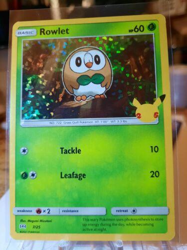 Pokemon McDonald's 25th Anniversary Rowlet 7/25 HOLO Card 2021 *FREE SHIPPING*