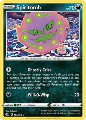 x1 Spiritomb - 103/198 - Rare - Reverse Holo Pokemon SS06 Chilling Reign M/NM