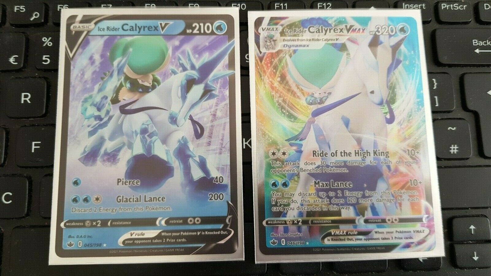 045/198 & 046/198 Ice Rider Calyrex V & VMax Cards Chilling Reign Pokemon Card - Image 1