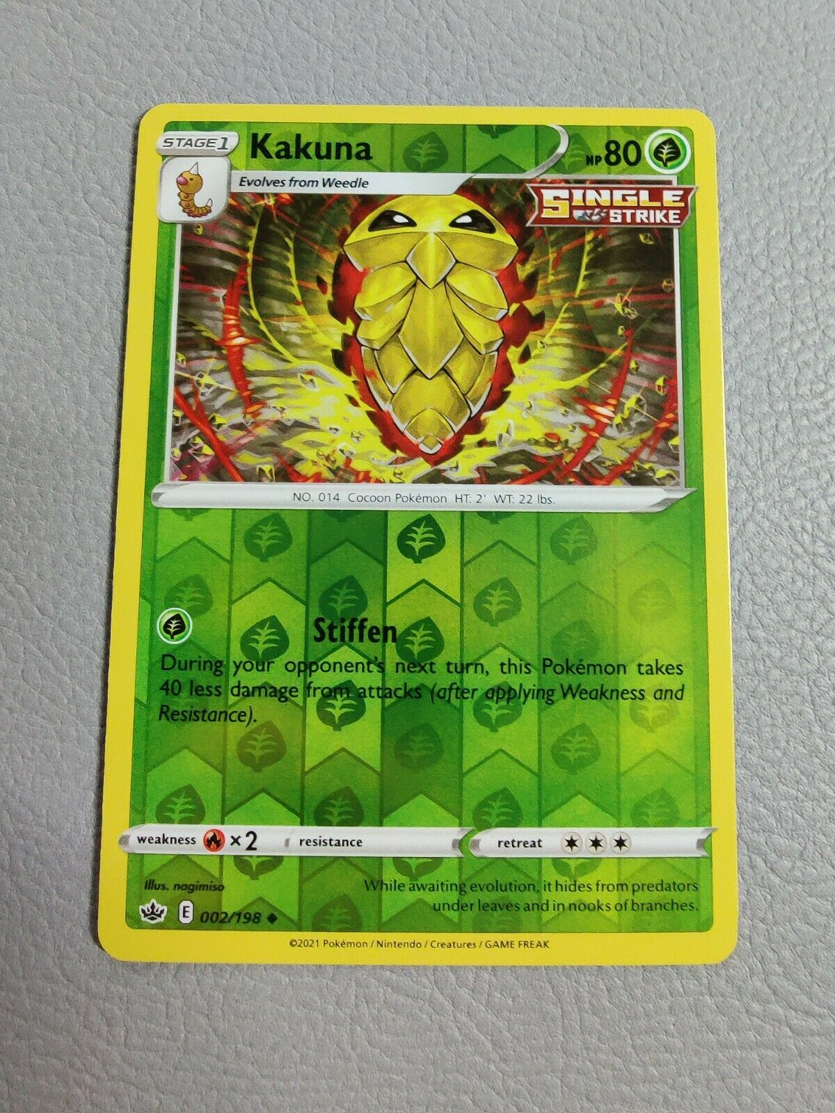 Kakuna | Reverse Holo | NM | Chilling Reign 002/198 | Uncommon | Pokemon