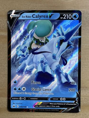 Pokemon Ice Rider Calyrex V 045/198 Ultra Rare Chilling Reign NEW IN-HAND - Image 1