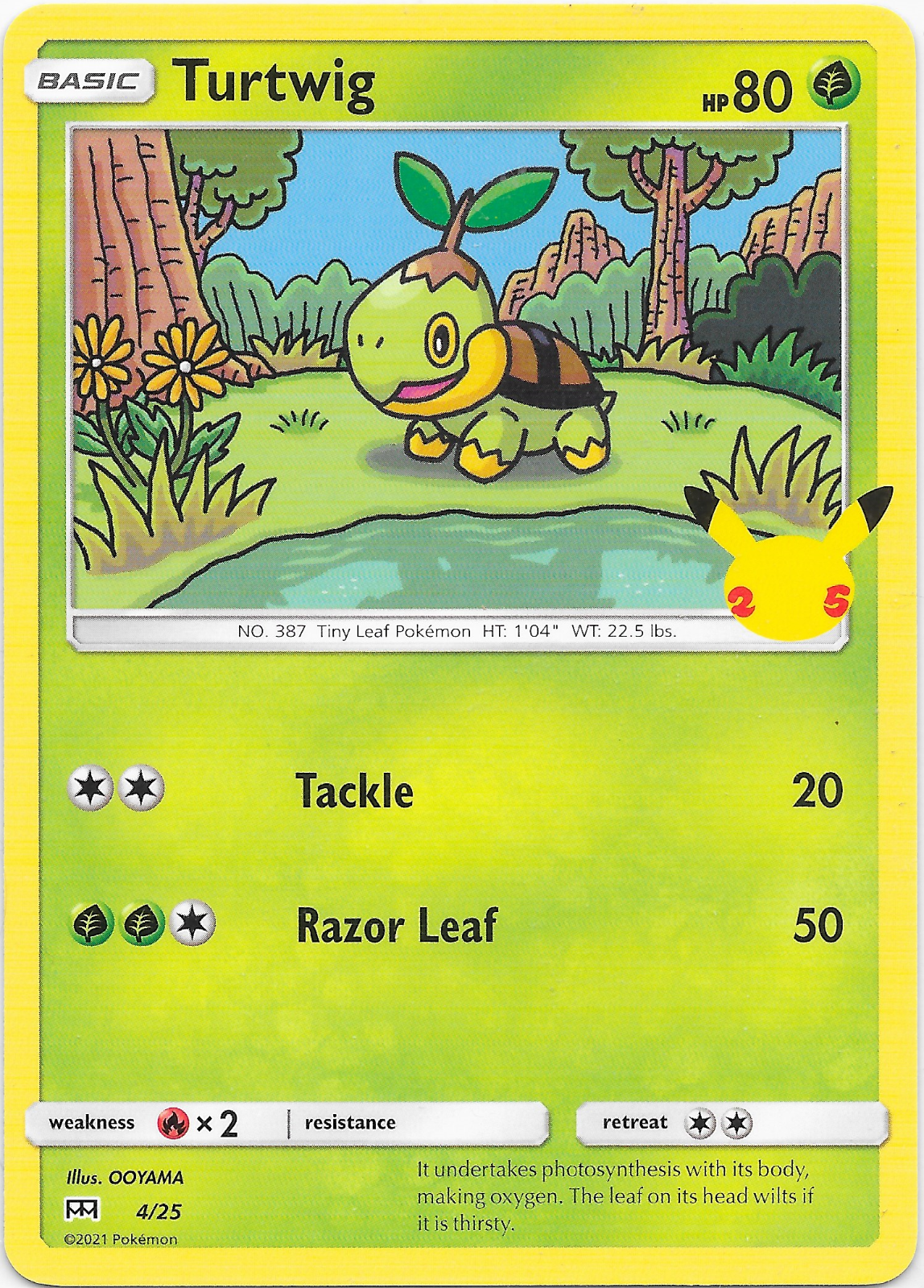 Turtwig 4/25 Pokemon 25th Anniversary McDonald's Promo Card