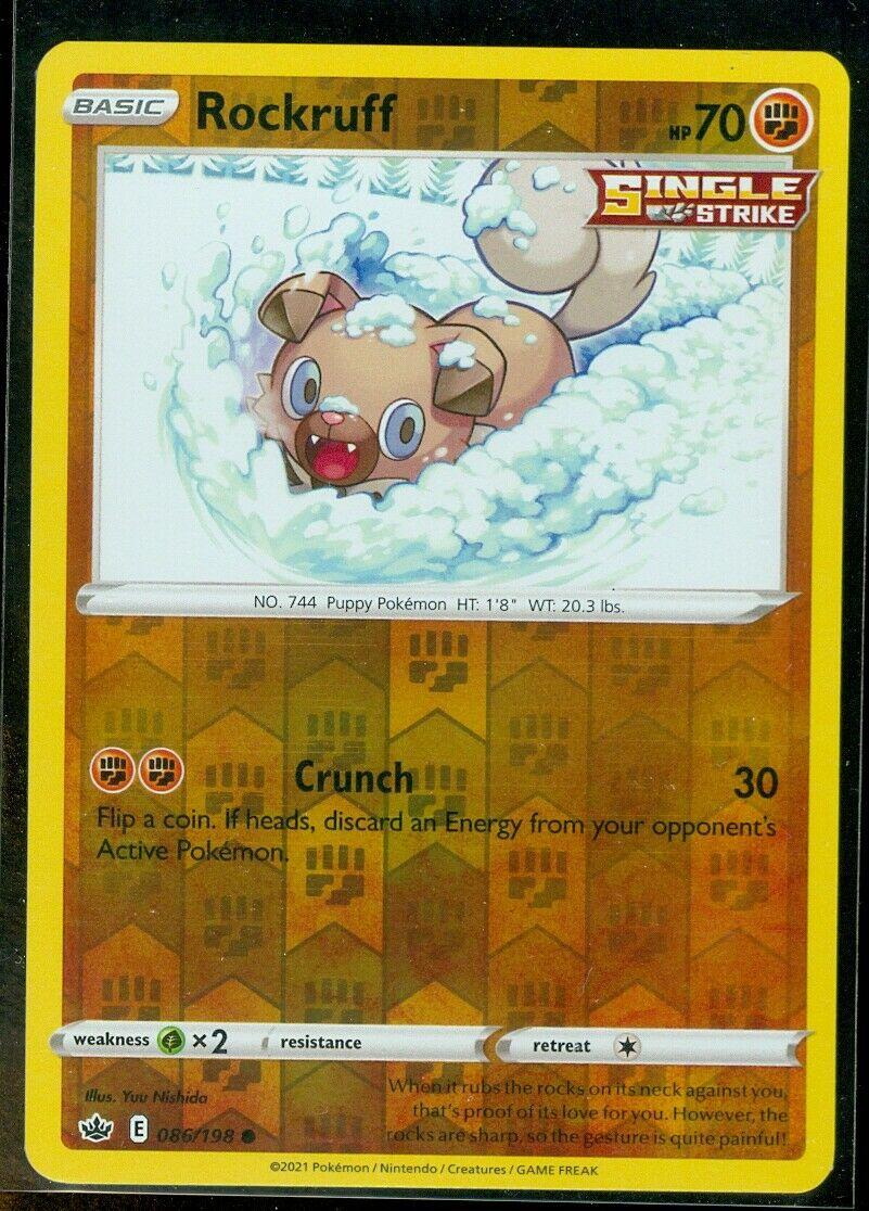 Pokemon ROCKRUFF 086/198 Chilling Reign - Rev Holo - - MINT