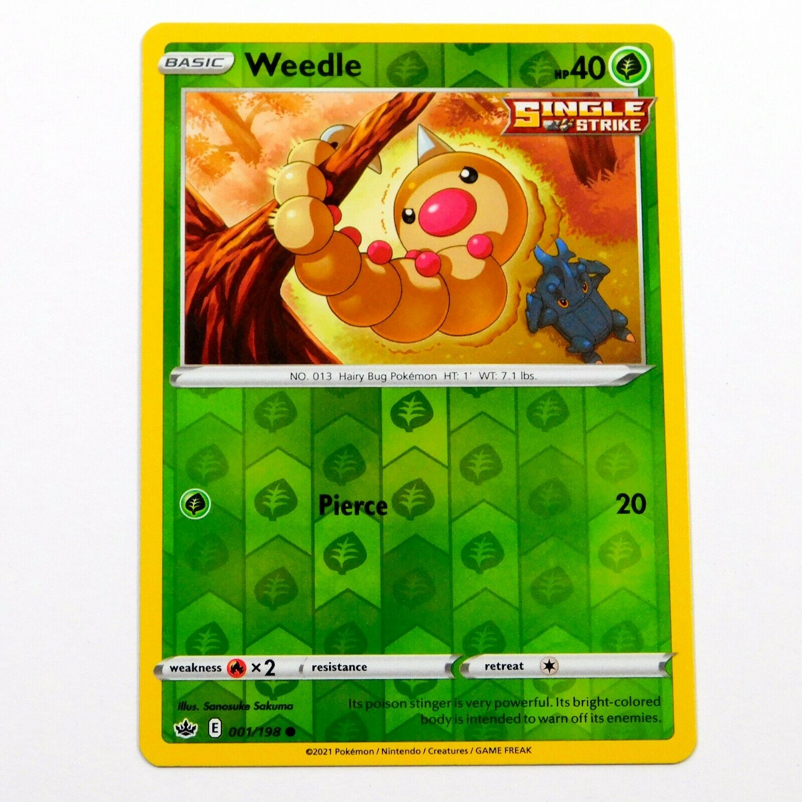 Weedle 001/198 Reverse Holo Chilling Reign Pokemon Card NM/M