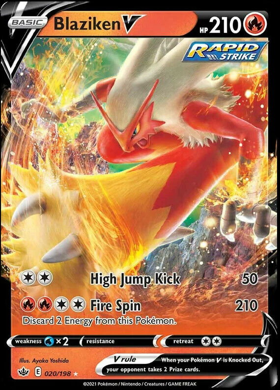 Blaziken V 020/198 NM|M- Chilling Reign Pokemon