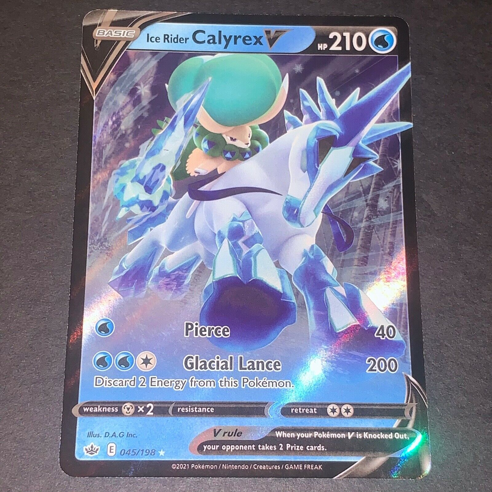 Pokemon S&S Chilling Reign ULTRA RARE Ice Rider Calyrex V 045/198 - Near Mint