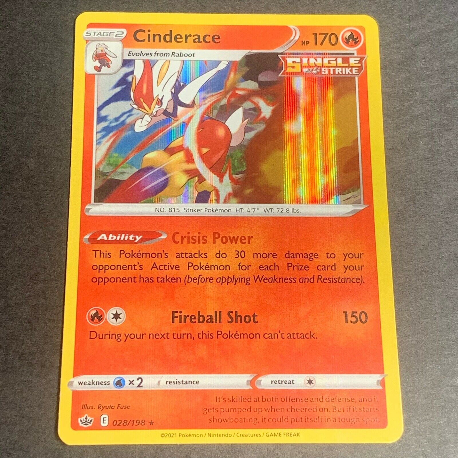 Pokemon S&S Chilling Reign Set HOLOGRAPHIC Cinderace 028/198 - Near Mint (NM)