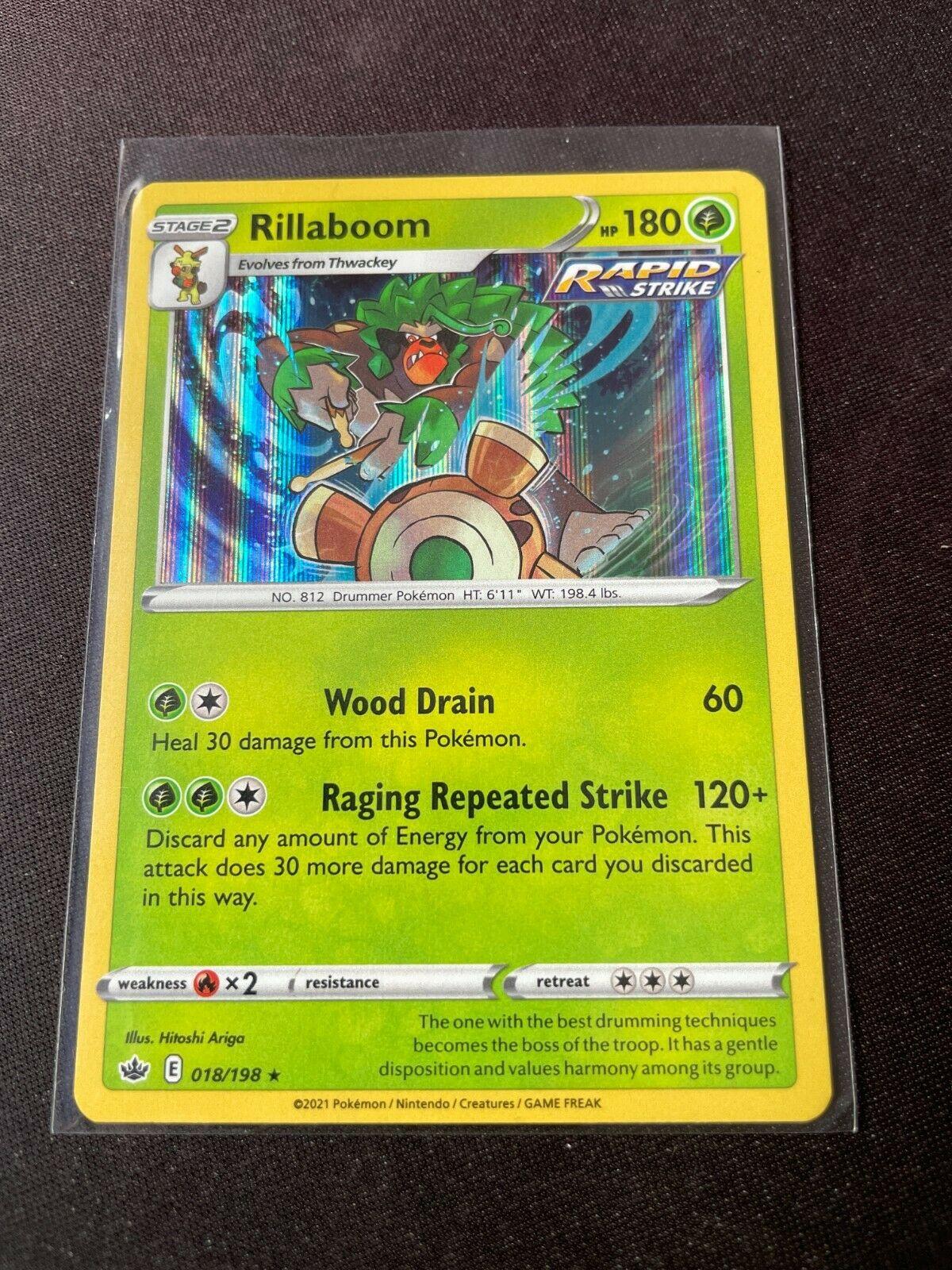 Pokemon TCG Chilling Reign 018/198 Rillaboom Card Holo Holographic Mint Rare