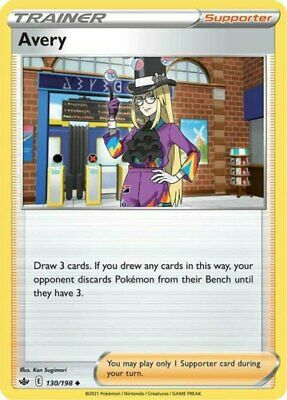 x1 Avery - 130/198 - Uncommon - Reverse Holo Pokemon SS06 Chilling Reign M/NM