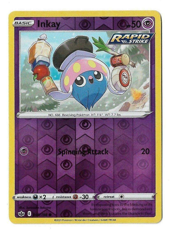 Pokemon TCG Chilling reign reverse holo Inkay 069/198 NM