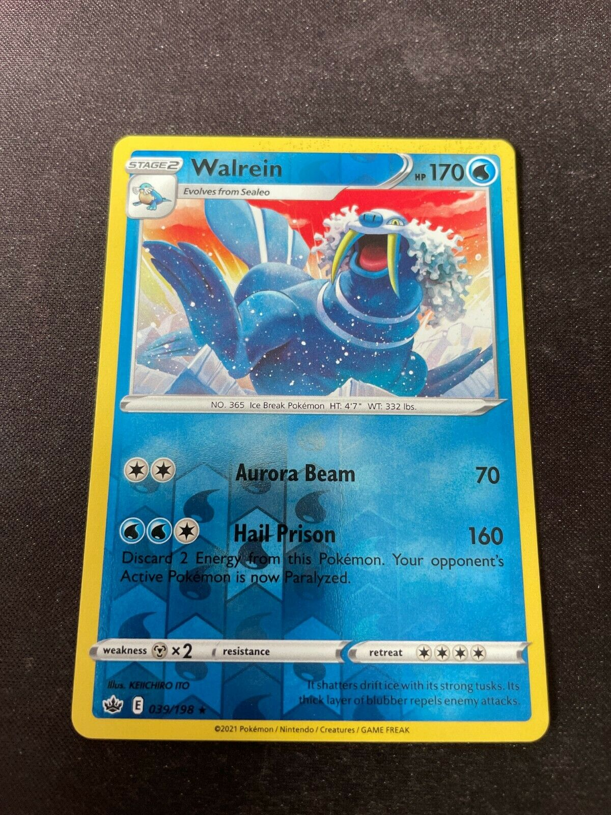 Pokemon TCG Chilling Reign 039/198 Walrein Card Fresh Reverse Holo Mint Rare