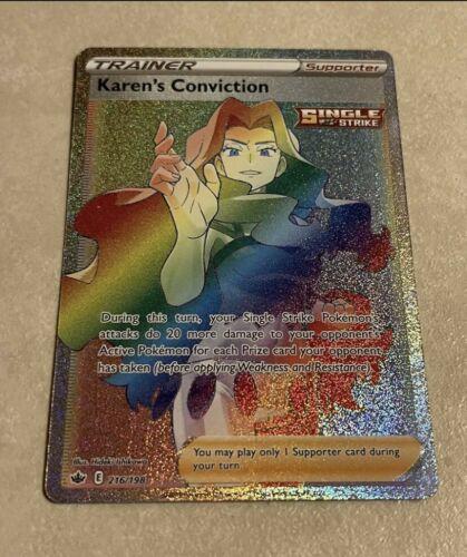 Pokémon TCG Chilling Reign KAREN'S CONVICTION 216/198 Secret Rare Rainbow MINT