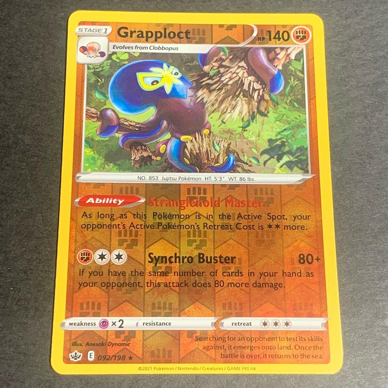 Pokemon S&S Chilling Reign REVERSE HOLO (R.) Grapploct 092/198 - Near Mint (NM)