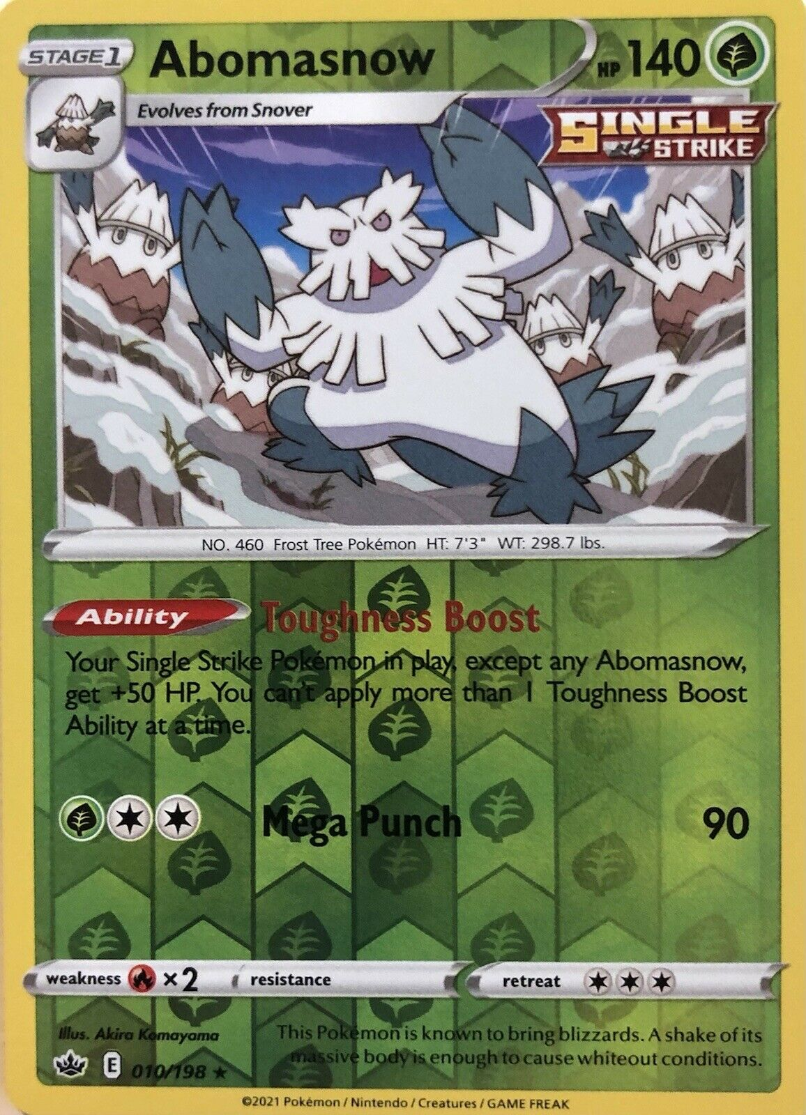 Abomasnow 010/198 Rare Reverse Holo Chilling Reign Pokemon Card