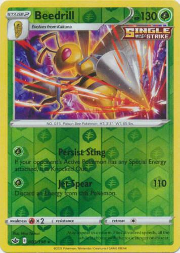 Pokemon - Beedrill - 003/198 - Reverse Holo Rare - Chilling Reign - NM/M