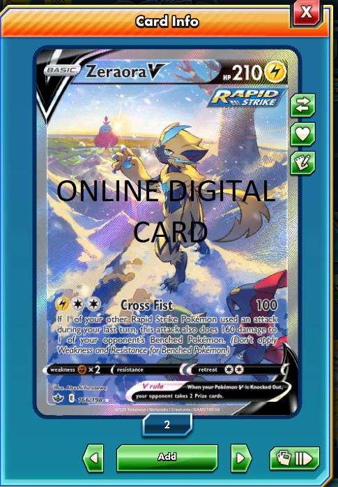 Pokemon TCG Online PTCGO DIGITAL CARD CHILLING REIGN ZERAORA V ATL ART 166/198