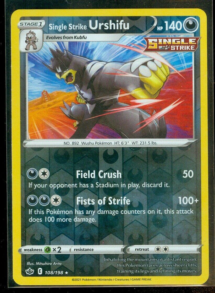 Pokemon SINGLE STRIKE URSHIFU 108/198 Chilling Reign - RARE Rev Holo - - MINT