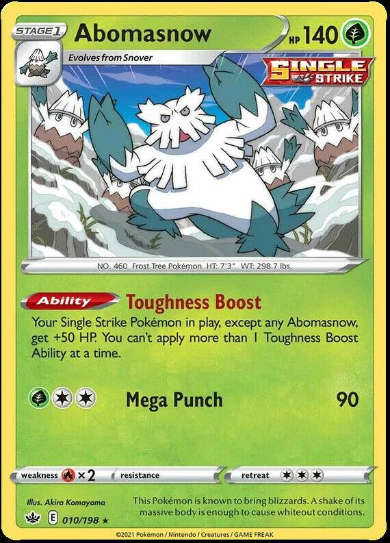 4x Abomasnow Rare 010/198 NM M- Chilling Reign Pokemon