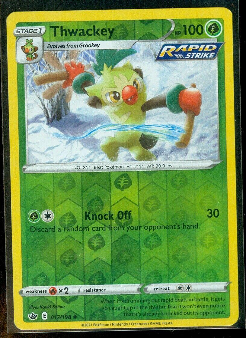 Pokemon THWACKEY 017/198 Chilling Reign - Rev Holo - - MINT