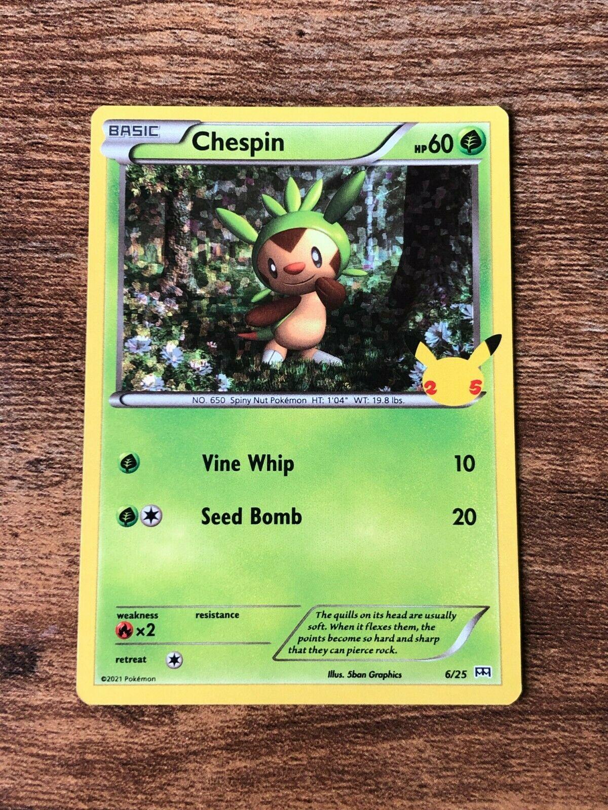 Pokemon Chespin 6/25 Holo - McDonald's 25th Anniversary NM 2021