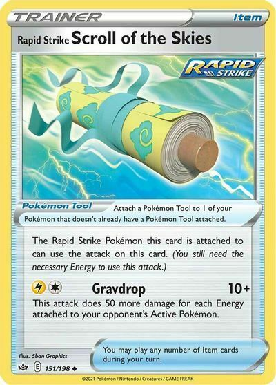 4x Rapid Strike Scroll of the Skies 151/198 NM M- Chilling Reign Pokemon