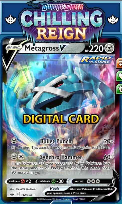 (Digital Card) Rapid Strike Metagross V 112/198 Chilling Reign PTCGO Sent Fast