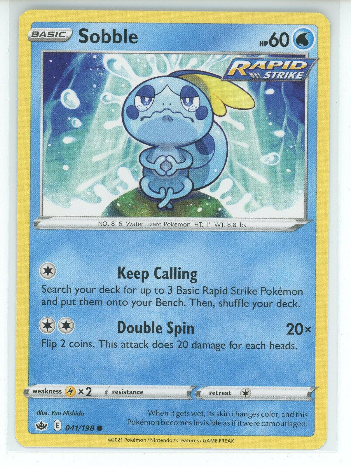 Pokemon 2021 S&S Chilling Reign Sobble 041/198 Rapid Strike Common