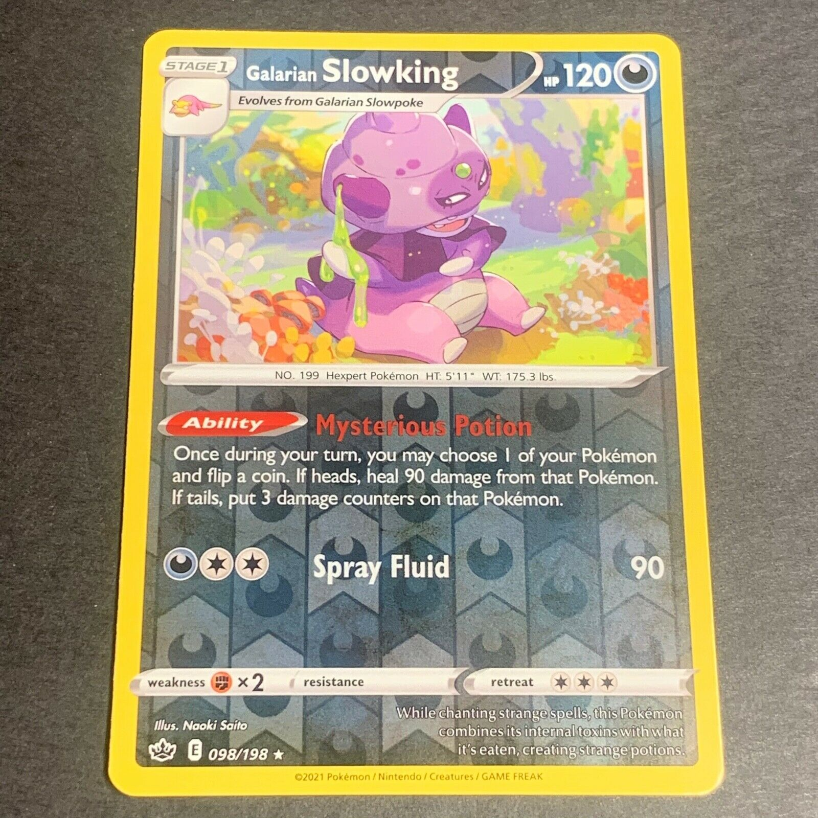 Pokemon S&S Chilling Reign Set REVERSE HOLO (R.) Galarian Slowking 098/198 - NM
