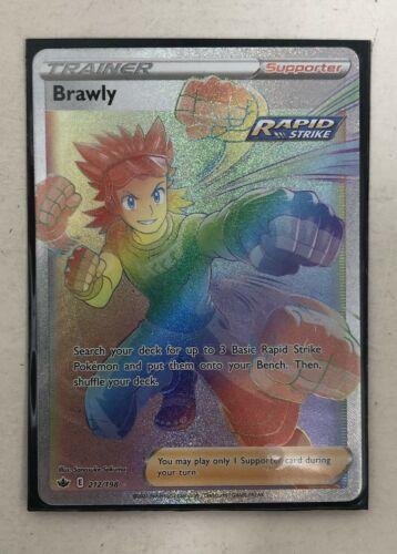 Pokemon Card Brawly Full Art Rainbow Rare (212/198) - SWSH Chilling Reign NM