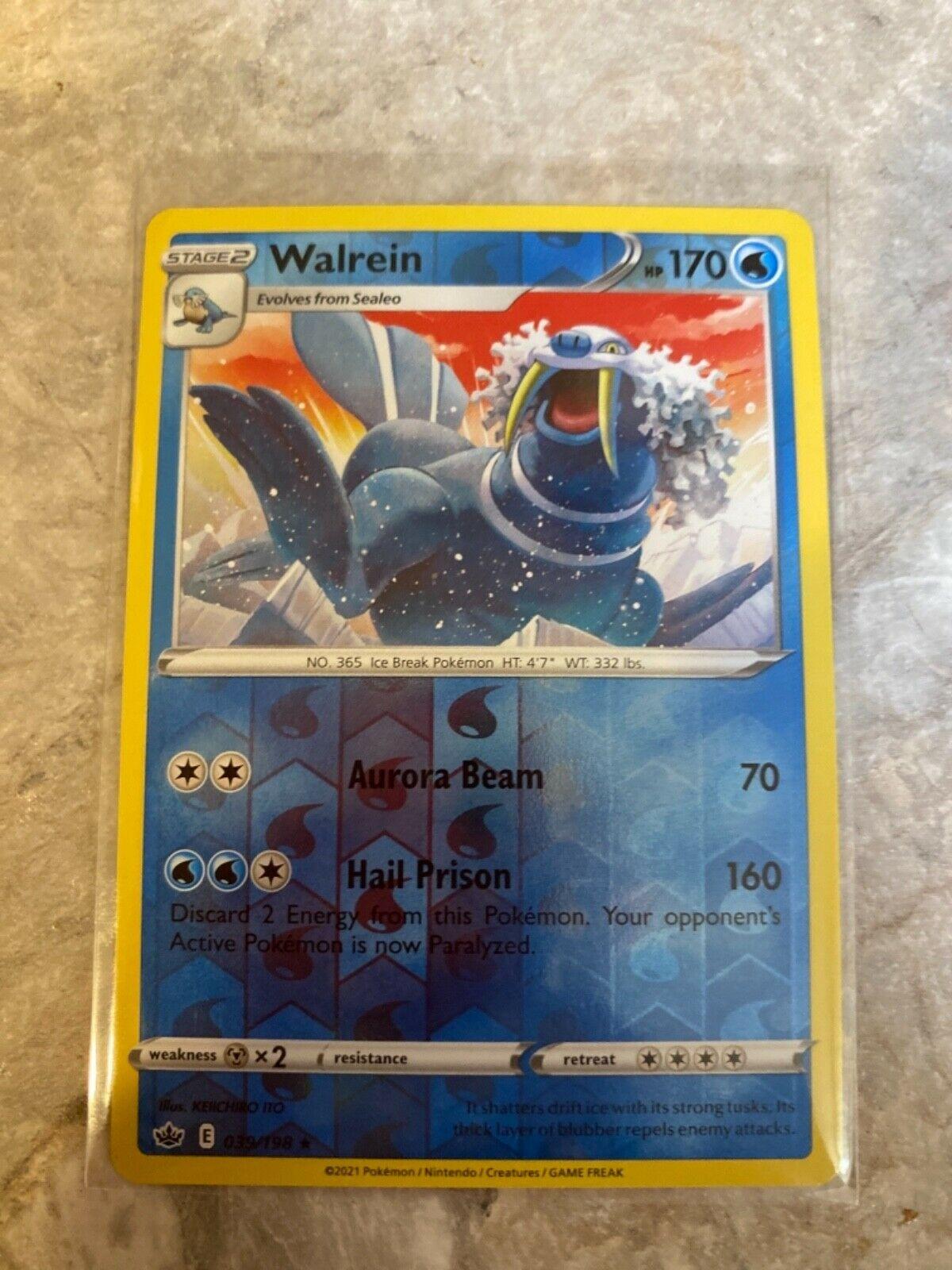 x1 Walrein - 039/198 - Rare - Reverse Holo Pokemon Chilling Reign 39/198 MINT!