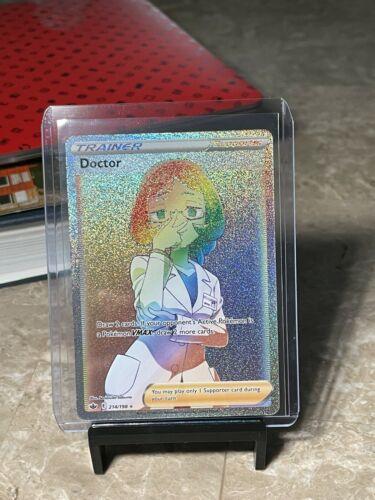 Pokemon Chilling Reign Doctor 214/198 Rainbow Secret Rare Full Art Trainer NP