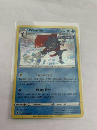 Pokemon Card Chilling Reign Weavile - 031/198 - Rare Holo NM/ Mint