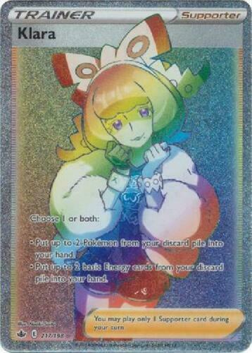 Klara HYPER RARE Secret 217/198 Holo Pokemon Card Chilling Reign