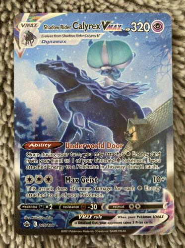 POKEMON CHILLING REIGN Shadow Rider Calyrex Vmax Full Art 205/198 ALTERNATE ART