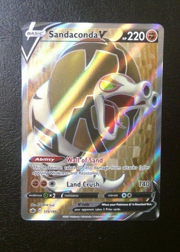 Pokemon SANDACONDA V 175/198 Chilling Reign ULTRA RARE FULL ART - MINT