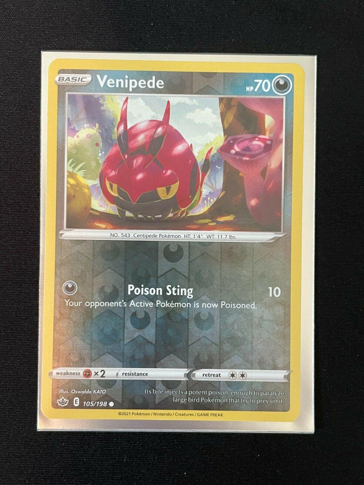 Pokemon Chilling Reign Venipede 105/198 Common Reverse Holo NM