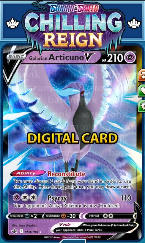 (Digital Card) Galarian Articuno V 058/198 Chilling Reign PTCGO