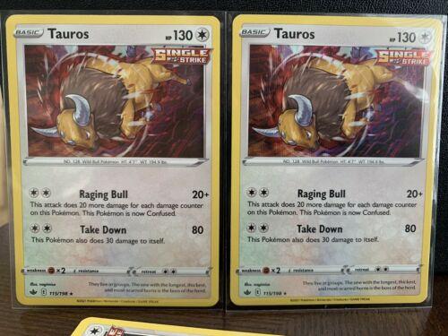 Pokemon - Tauros x3 Reverse Holo & Holo - Chilling Reign - 115/198 Deck Building - Image 2
